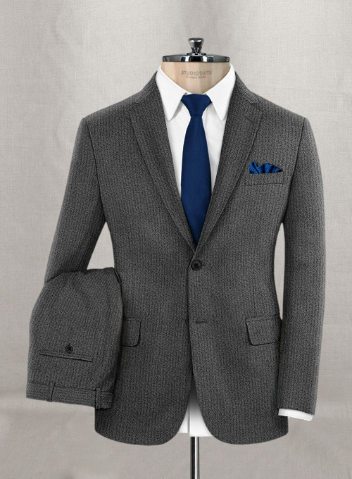 Herringbone Gray Flannel Wool Suit - Click Image to Close