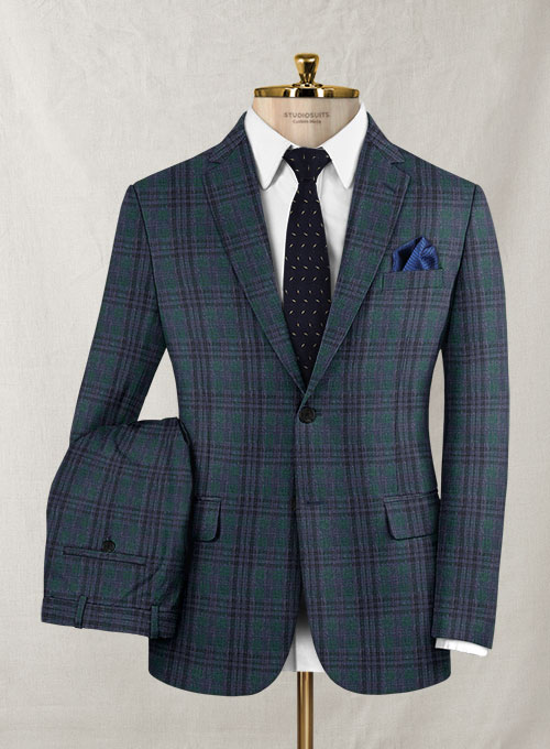 Italian Murano Amonso Checks Wool Suit - Click Image to Close