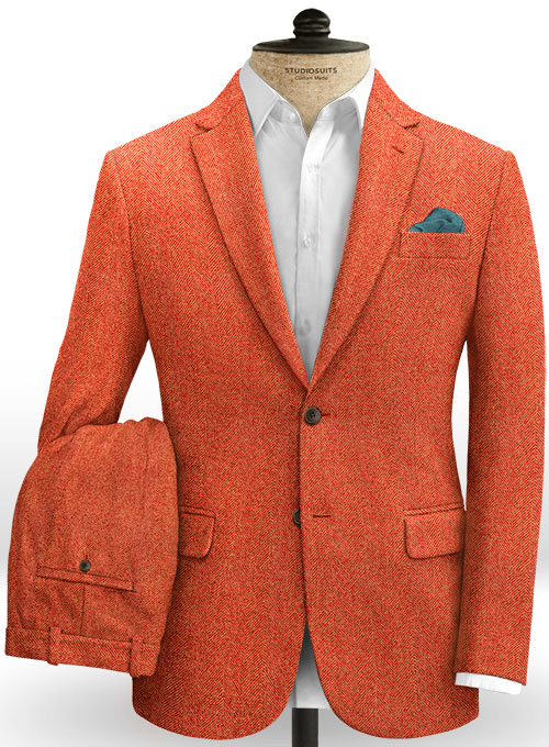 Italian Wide Herringbone Fire Tweed Suit - Click Image to Close