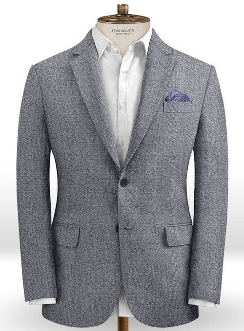 Italian Khyber Gray Blue Linen Suit - Click Image to Close