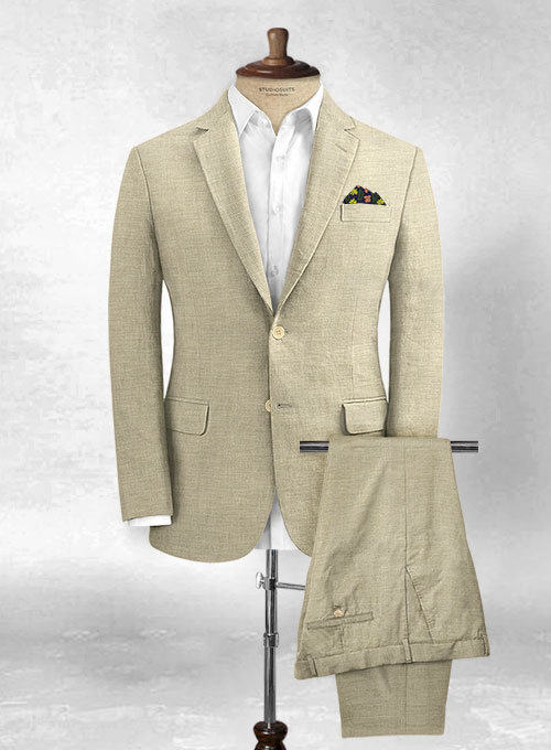 eb1227f72a7 Italian Spring Beige Linen Suit : StudioSuits: Made To Measure Custom Suits,  Customize Suits, Jackets and Trousers