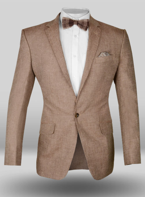 Italian Denim Brown Linen Jacket Studiosuits Made To Measure Custom Suits Customize Suits