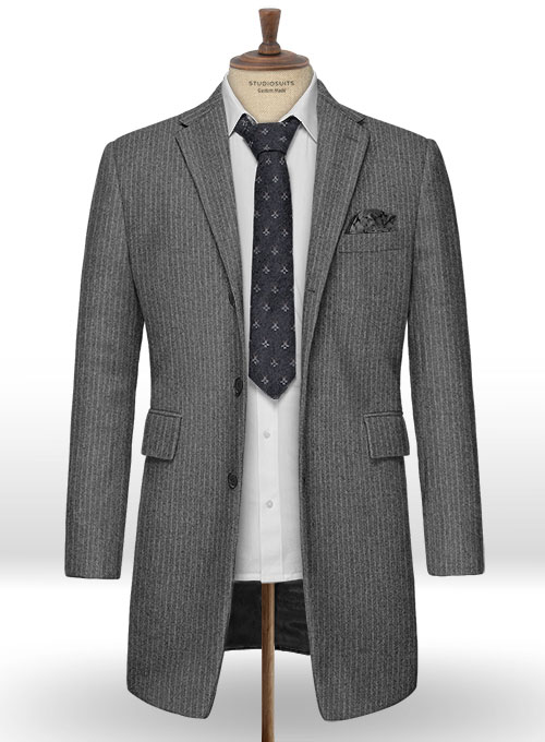 Light Weight Gray Stripe Tweed Overcoat - Click Image to Close