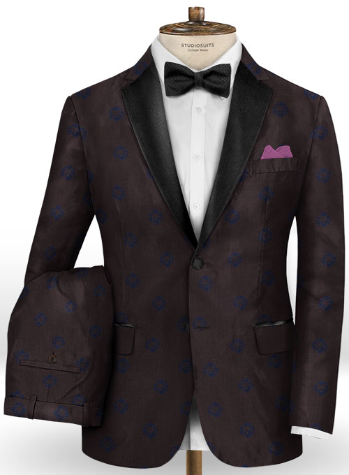 Lion Wine Wool Tuxedo Suit - Click Image to Close