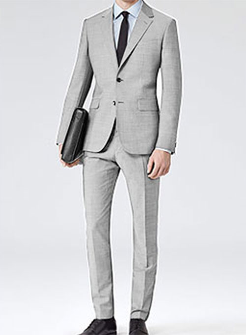 Worsted Light Gray Wool Suit Studiosuits Made To