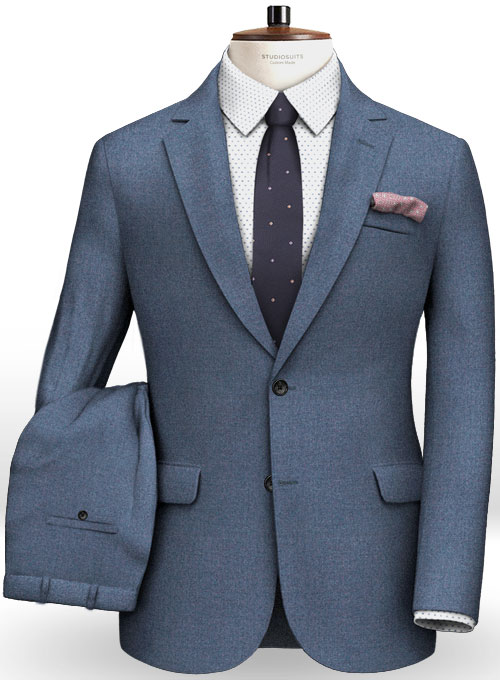 61582a011c48 Light Weight Club Blue Tweed Suit   StudioSuits  Made To Measure Custom  Suits