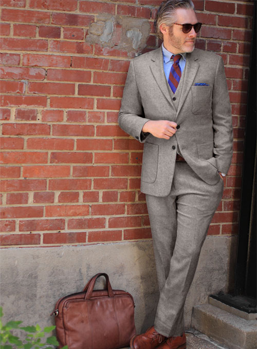Light Weight Brown Tweed Suit - Click Image to Close