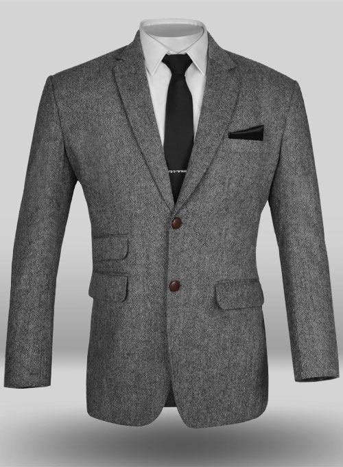 Light Weight Dark Gray Tweed Jacket Studiosuits Made To