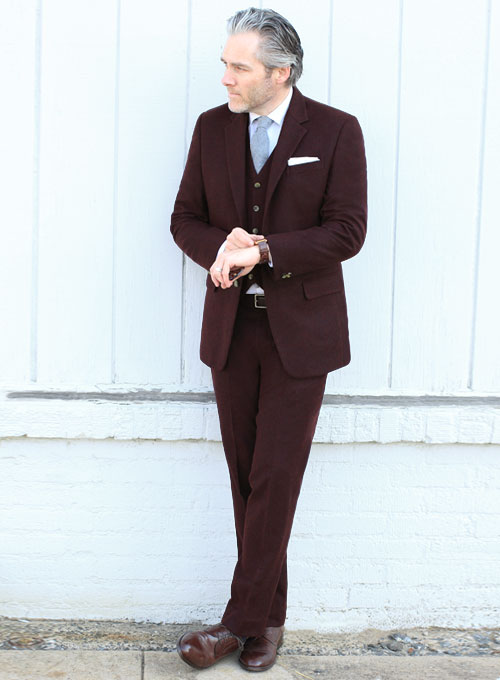a82682fade41 Light Weight Dark Maroon Tweed Suit - Ready Size   StudioSuits  Made To  Measure Custom Suits