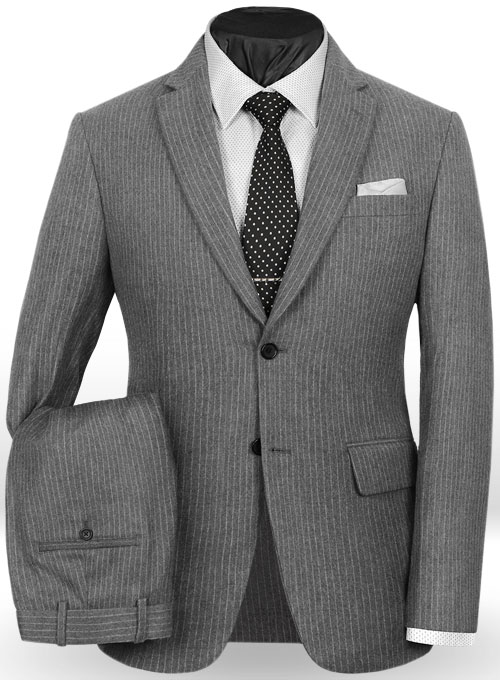 Light Weight Gray Stripe Tweed Suit Studiosuits Made To