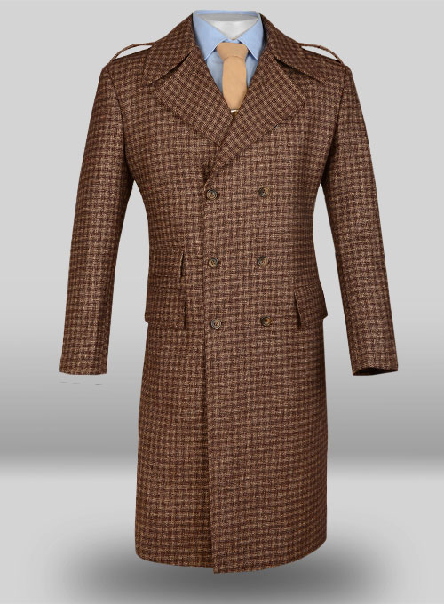 Maze Brown Tweed GQ Trench Coat : Custom Suits | Shirts | Sport