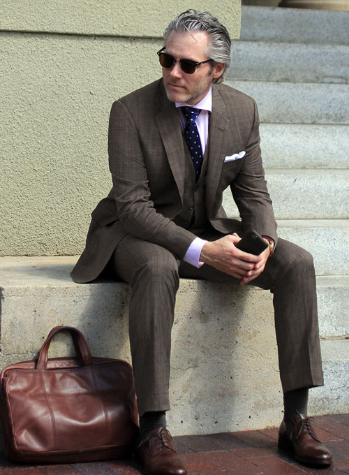 Napolean Ash Brown Dice Wool Suit : StudioSuits: Made To Measure ...