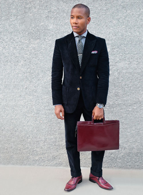 Navy Blue Thick Corduroy Suit : StudioSuits: Made To Measure ...