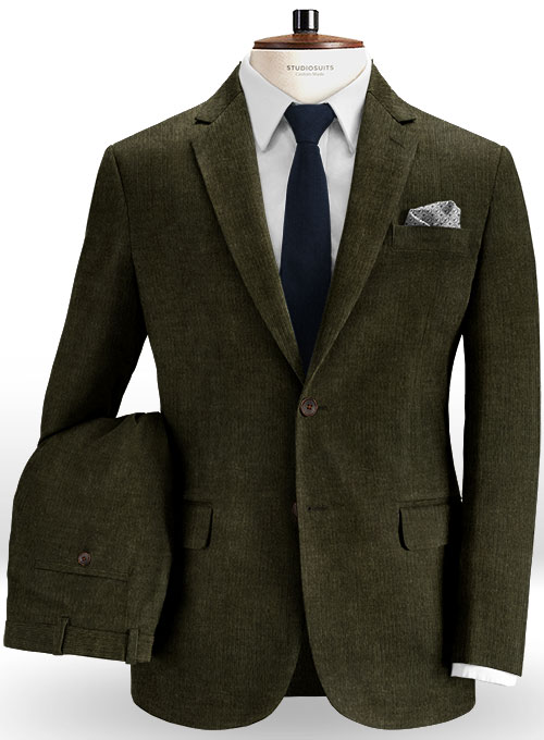 Dark Olive Green Corduroy Suit Studiosuits Made To