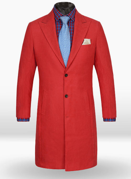 Pure Red Linen Long Coat - Click Image to Close