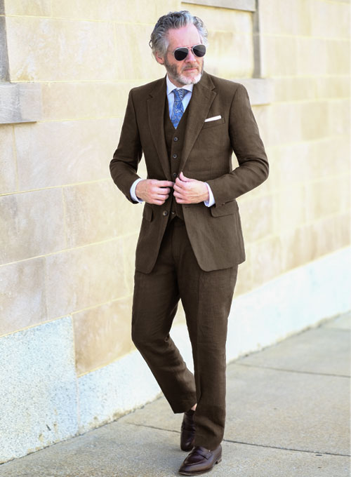 Pure Rich Brown Linen Suit - Click Image to Close
