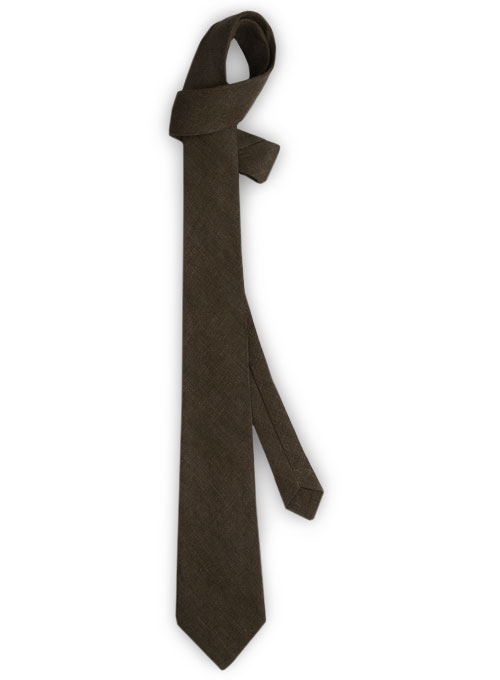Linen Tie - Pure Rich Brown - Click Image to Close