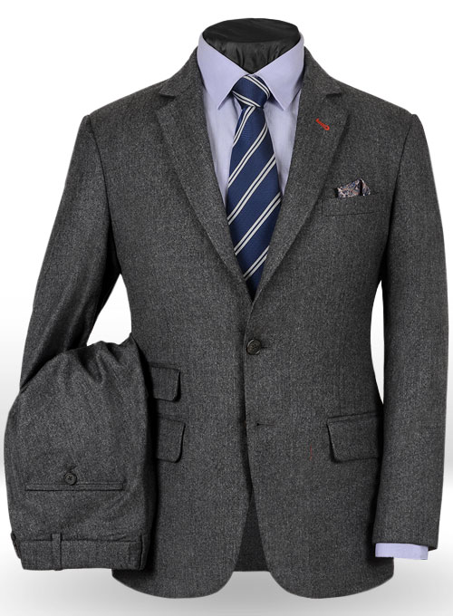 Reda Flannel Dark Gray Pure Wool Suit Studiosuits Made