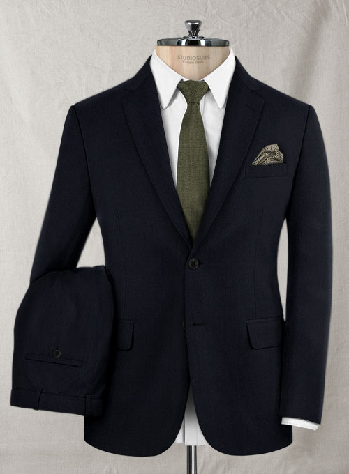 Reda Navy Blue Pure Wool Suit Studiosuits Made To