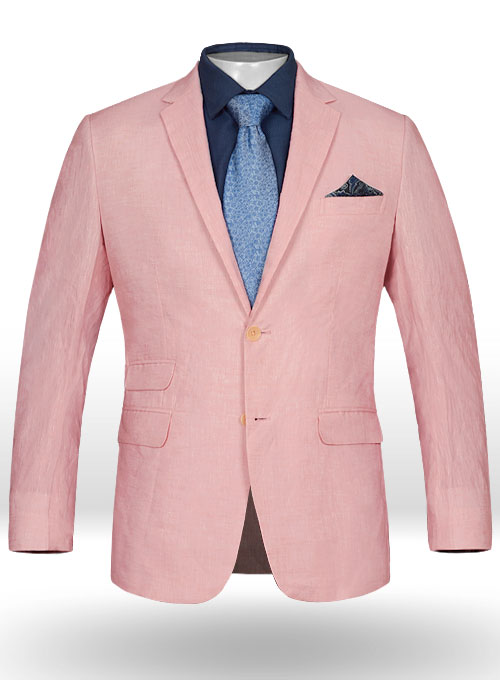 Roman Light Pink Linen Jacket : StudioSuits: Made To Measure ...