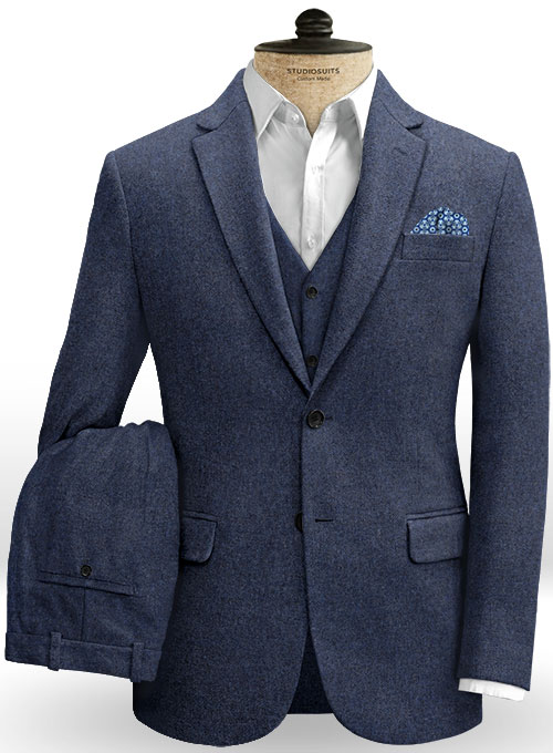 Royal Blue Denim Tweed Suit - Click Image to Close