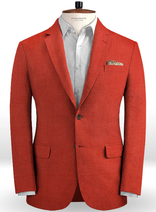 Safari Red Cotton Linen Suit - Click Image to Close