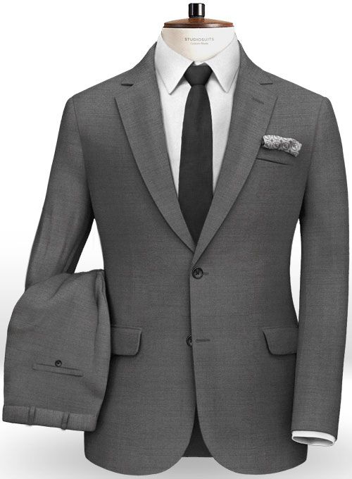 Scabal Gray Twill Pure Wool Suit - Click Image to Close