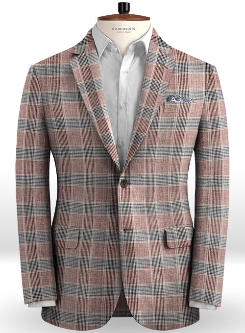 Solbiati Wine Checks Linen Suit - Click Image to Close