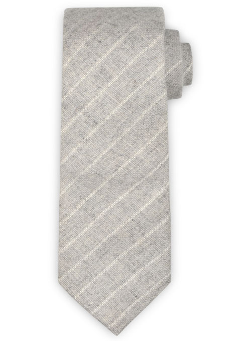 Tweed Tie - Stripe Light Gray Tweed