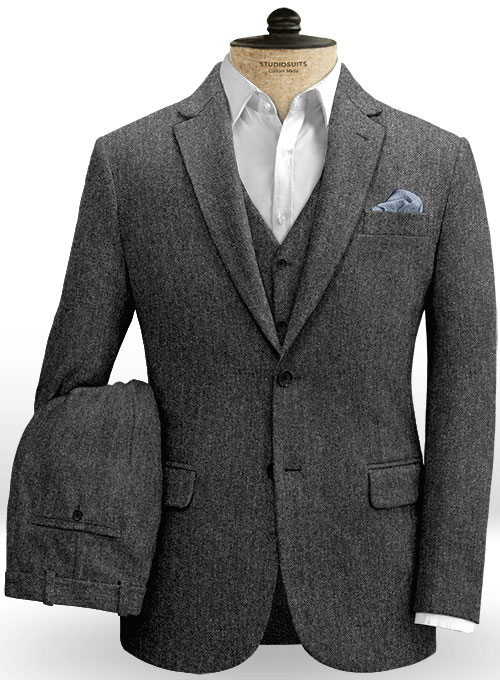 Stone Charcoal Tweed Suit - Click Image to Close