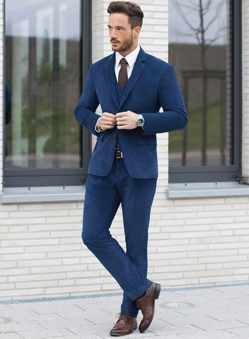 wide range reputable site many styles Stretch Cobalt Blue Corduroy Suit : StudioSuits: Made To Measure ...
