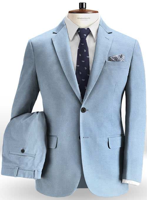 e660269a845a Stretch Summer Weight River Blue Chino Suit   StudioSuits  Made To Measure  Custom Suits