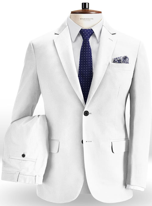 8f314fe9c02f Summer Weight White Chino Suit   StudioSuits  Made To Measure Custom Suits