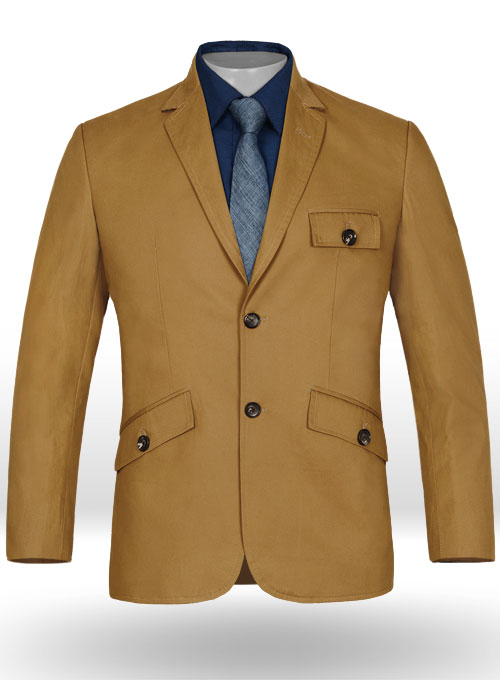 f0391decadc1 Summer Weight Dk Khaki Chino Madison Style Jacket   StudioSuits  Made To  Measure Custom Suits
