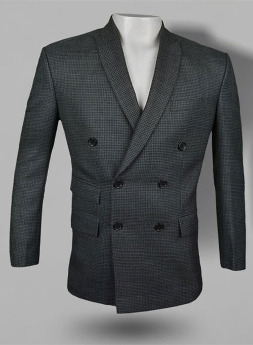 Tweedy Black Houndstooth Double Breasted  Wool Jacket