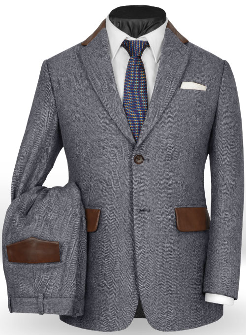 Vintage Herringbone Blue Tweed Suit Leather Trims