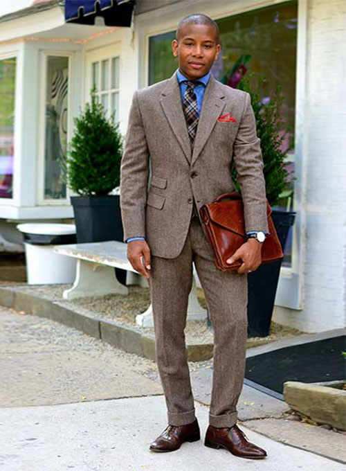 Vintage Dark Brown Herringbone Tweed Suit Studiosuits