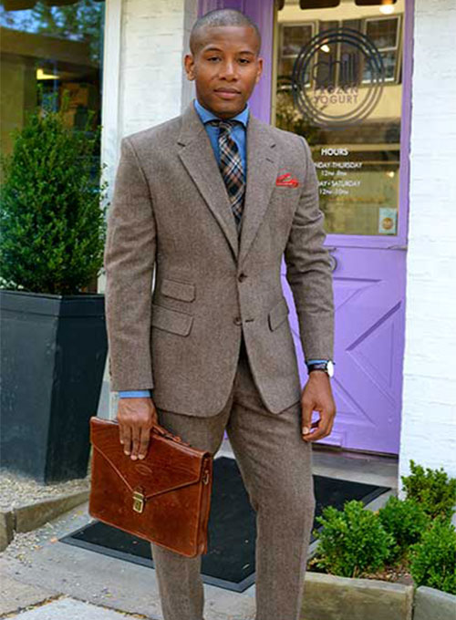 Vintage Dark Brown Herringbone Tweed Suit - Click Image to Close