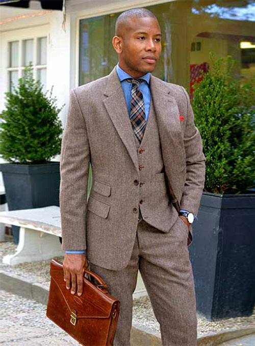 Vintage Dark Brown Herringbone Tweed Suit : StudioSuits: Made To ...