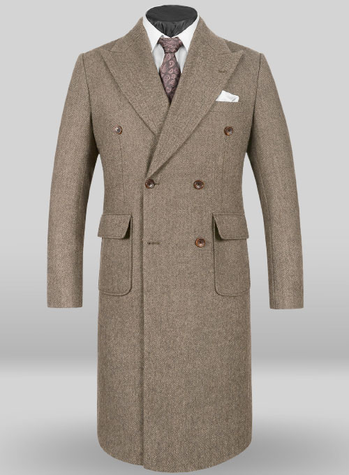musto vintage herringbone dark brown tweed overcoat