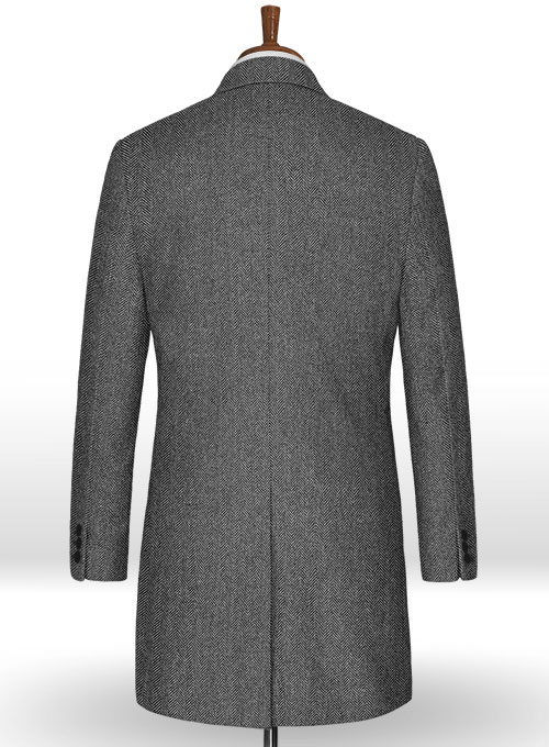 Vintage Herringbone Gray Tweed Overcoat - Click Image to Close