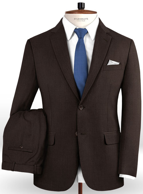 Worsted Dark Brown Wool Suit - Click Image to Close